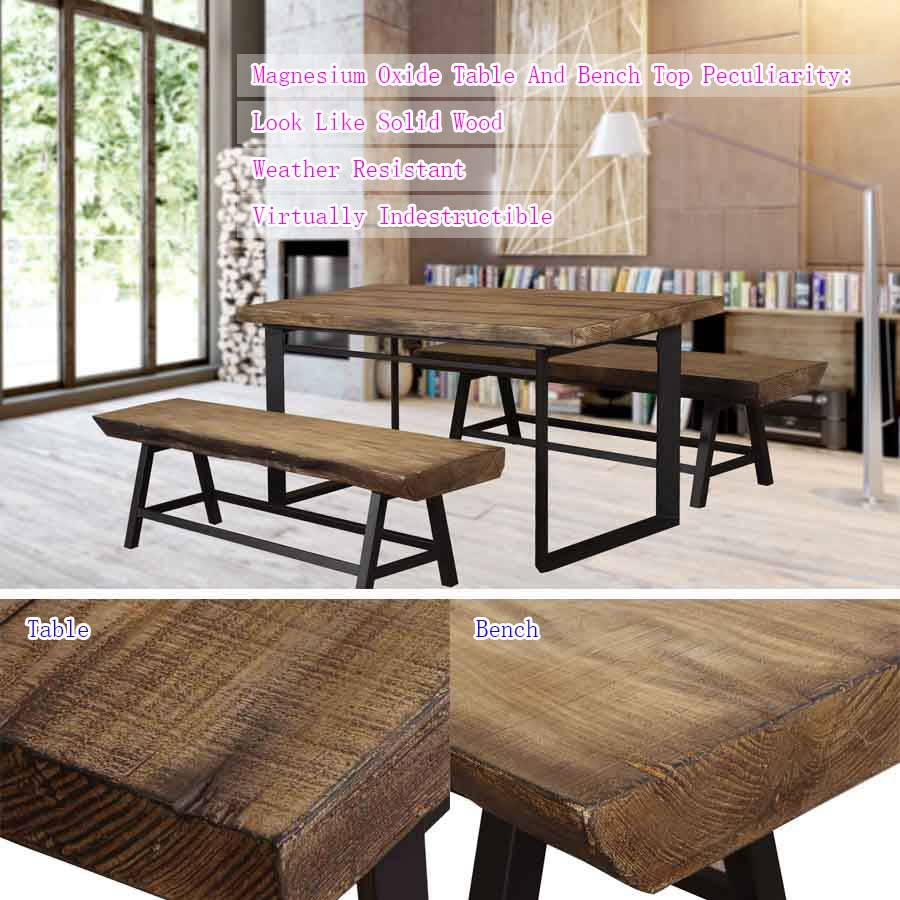 magnesium oxide rectangle dining room table with bench