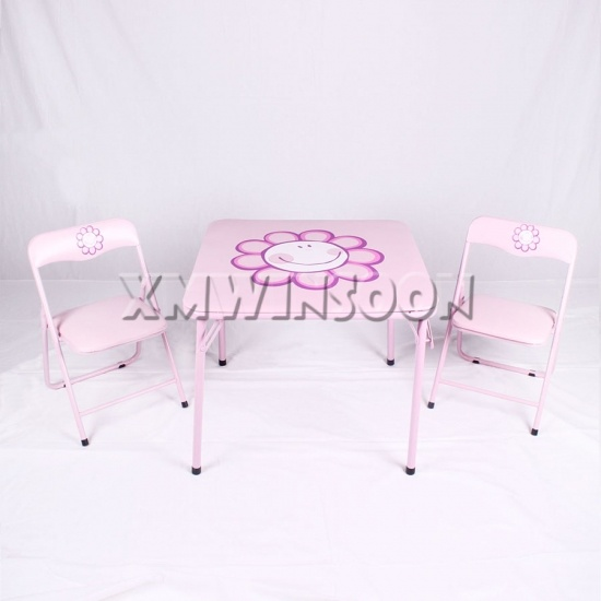 3 Piece Metal Kids Folding Table And Chairs Set AA5020 Chinese Furniture Manu