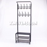 Metal Hall Tree Entryway Bench Storage Bench With Coat Rack AE3060