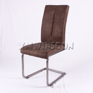 Leather Brushed Metal Dining Chairs