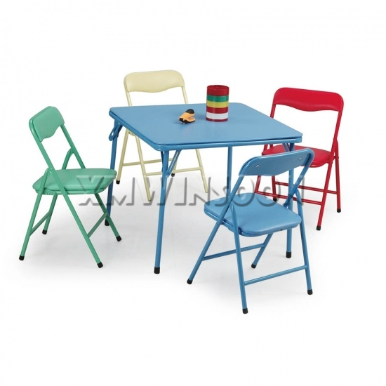 5 Piece Steel Kids Folding Table And Chairs Set AA5030 Chinese Furniture Manu