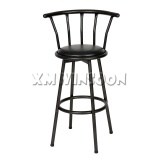 Black Counter Padded Swivel Metal Bar Stool With Back AC1010