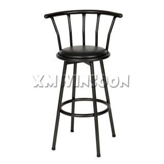 Black Swivel Bar Stool With Back