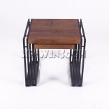 2 Piece Modern Metal Nesting Side Tables Set With MDF Top AB6020