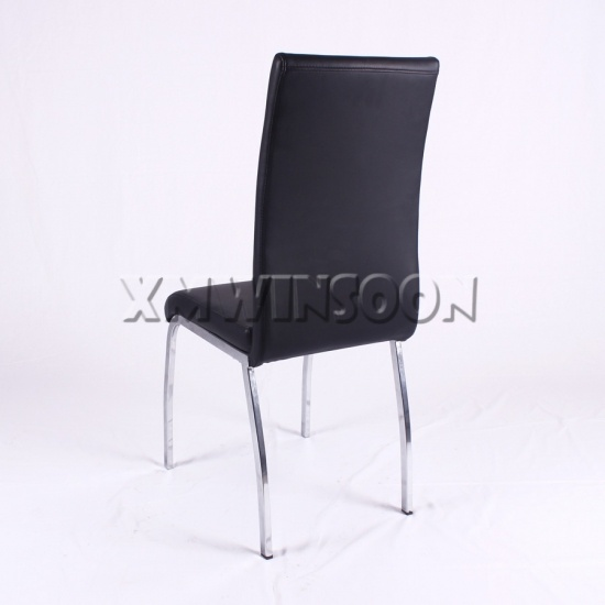 Chrome and black leather metal dining chairs ac6021 for Leather and chrome dining chairs