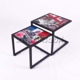 Steel Frame Modern Nesting Coffee Tables Set With Tempered Glass AB6010