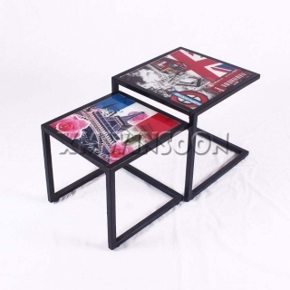 Steel Frame Modern Nesting Coffee Tables Set