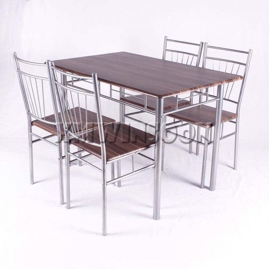 5 Piece Grey Metal Frame Dining Room Sets AA0210