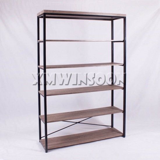 6 Shelf Metal MDF Bookcases Shelves With Metal Legs AE5020