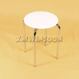 Modern Chrome Metal Stackable Stools With Wood Top AC0027